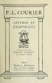 Cover of: Lettres et pamphlets.