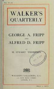 Cover of: George A. Fripp and Alfred D. Fripp.