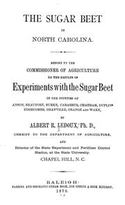 Cover of: The sugar beet in North Carolina