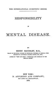 Cover of: Responsibility in mental disease