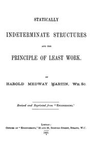 Cover of: Statically indeterminate structures and the principle of least work.