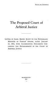 Cover of: The proposed court of arbitral justice