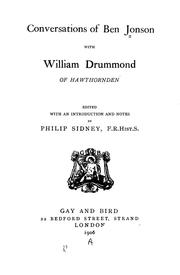 Cover of: Conversations of Ben Jonson with William Drummond of Hawthornden