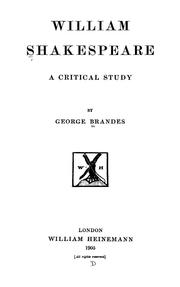 Cover of: William Shakespeare: a critical study