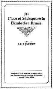 Cover of: The place of Shakspeare in Elizabethan drama