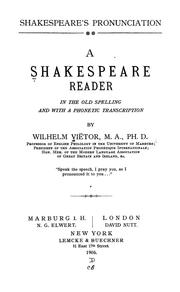 Cover of: Shakespeare, pronunciation
