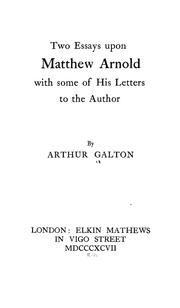 Cover of: Two essays upon Matthew Arnold