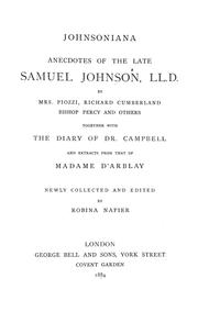 Cover of: Johnsoniana: from Boswell's life of the great lexicographer and moralist.