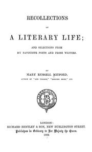 Cover of: Recollection of a literary life