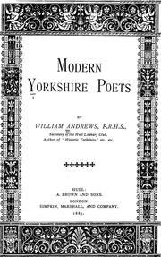 Cover of: Modern Yorkshire poets