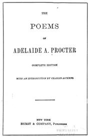 Cover of: The poems of Adelaide A. Procter