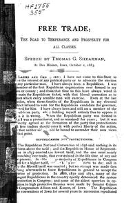 Cover of: Speech of Thomas G. Shearman, at Des Moines, Iowa, October 2, 1883