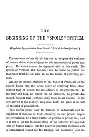 "Cover of: The beginning of the ""spoils"" system in the national government, 1829-30 ..."