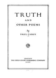 Cover of: Truth, and other poems