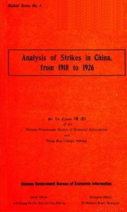 Cover of: Analysis of strikes in China, from 1918 to 1926