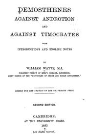Cover of: Against Androtion and Against Timocrates