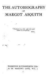 Cover of: The autobiography of Margot Asquith