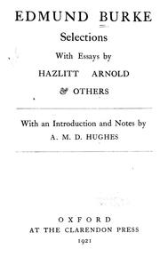 Cover of: Selections: with essays by Hazlitt, Arnold and others