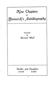 Cover of: New chapters of Bismarck's autobiography