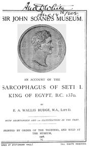 Cover of: An Account Of The Sarcophagus Of Seti I, King Of Egypt, B.C. 1370