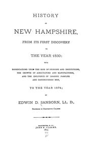 Cover of: History of New Hampshire, from its first discovery to the year 1830