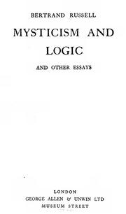 Cover of: Mysticism and logic