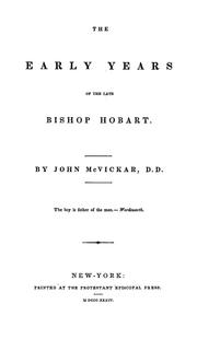 Cover of: The early years of the late Bishop Hobart ...
