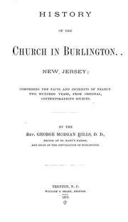 Cover of: History of the church in Burlington, N.J.
