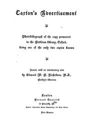 Cover of: Caxton's advertisement: photolithograph of the copy preserved in the Bodleian Library, Oxford, being one of only two copies known