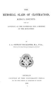 Cover of: The memorial slabs of Clonmacnois, King's County