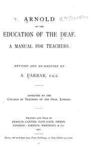 Cover of: Arnold on the education of the deaf