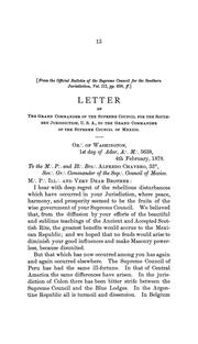 Cover of: Letter[s] of the Grand Commander of the Supreme Council for the Southern Jurisdiction of the United States ...