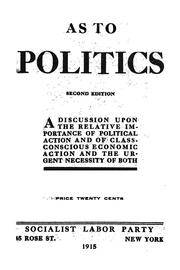 Cover of: As to politics