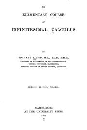 Cover of: An elementary course of infinitesimal calculus