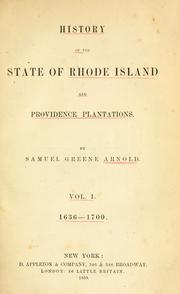 Cover of: History of the state of Rhode Island and Providence plantations