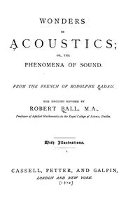 Cover of: Wonders in acoustics