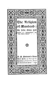 Cover of: The religion of manhood