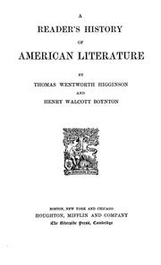 Cover of: A reader's history of American literature
