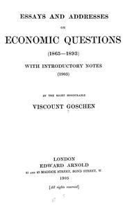 Cover of: Essays and addresses on economic questions (1865-1893)