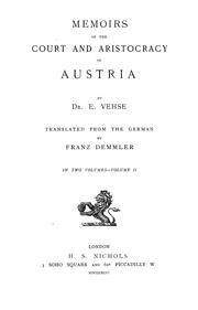 Cover of: Memoirs of the court and aristocracy of Austria