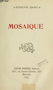 Cover of: Mosaïque.