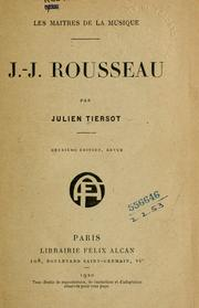 Cover of: J.-J. Rousseau