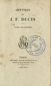 Cover of: Oeuvres de J. F. Ducis