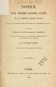 Cover of: Notice sur Rabbi Saadia Gaon et sa version arabe d'Isaie