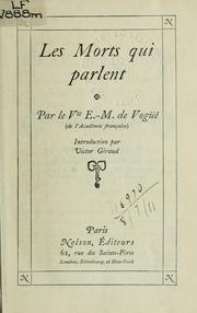 Cover of: Les morts qui parlent