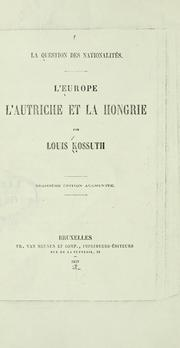 Cover of: La question des nationalités.