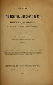 Cover of: L' insurrection algérienne de 1871