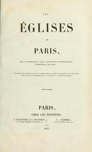 Cover of: Les églises de Paris.