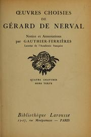 Cover of: uvres choisies de Gérard de Nerval