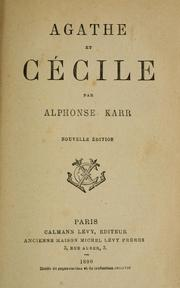 Cover of: Agathe et Cécile.